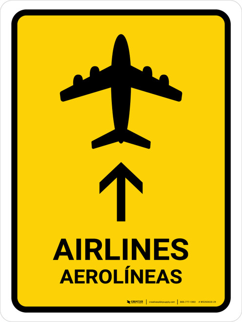 Airlines With Up Arrow Yellow Bilingual Portrait - Wall Sign
