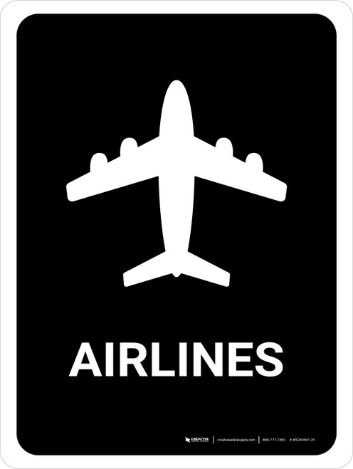 Airlines Black Portrait - Wall Sign