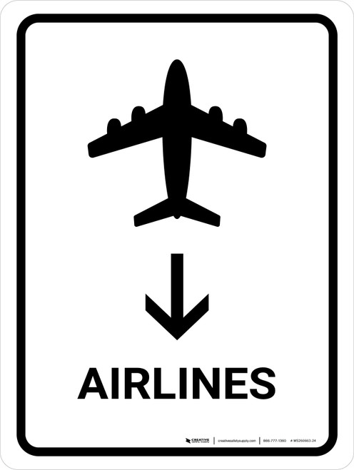 Airlines With Down Arrow White Portrait - Wall Sign