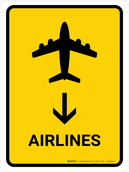 Airlines With Down Arrow Yellow Portrait - Wall Sign