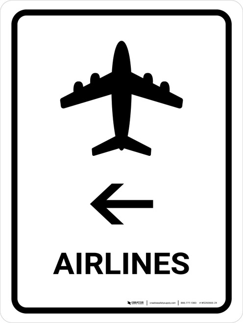 Airlines With Left Arrow White Portrait - Wall Sign