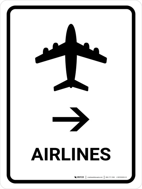 Airlines With Right Arrow White Portrait - Wall Sign