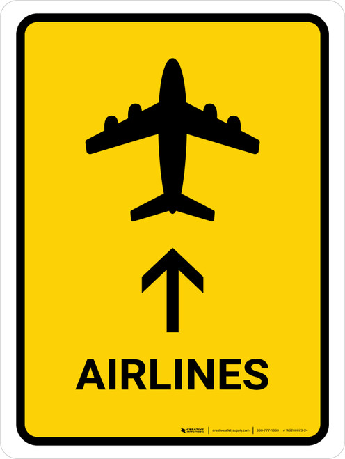 Airlines With Up Arrow Yellow Portrait - Wall Sign
