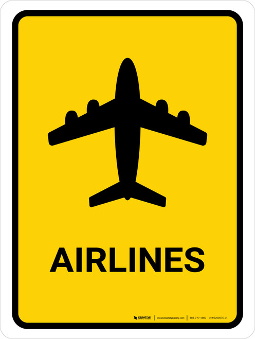Airlines Yellow Portrait - Wall Sign