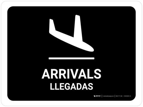 Arrivals Black Bilingual Landscape - Wall Sign