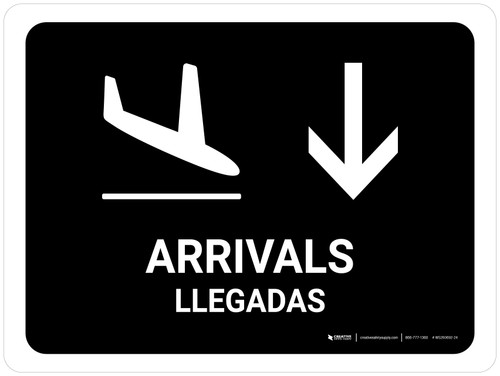 Arrivals With Down Arrow Black Bilingual Landscape - Wall Sign