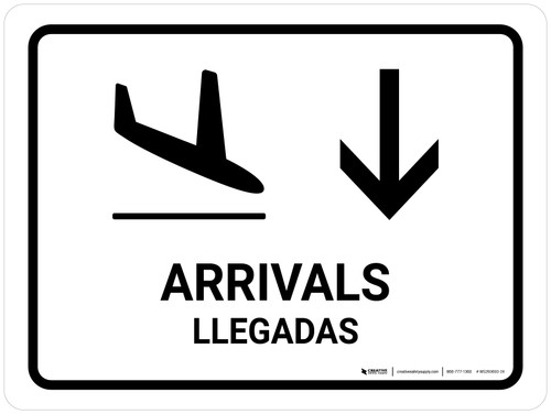 Arrivals With Down Arrow White Bilingual Landscape - Wall Sign
