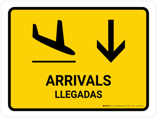 Arrivals With Down Arrow Yellow Bilingual Landscape - Wall Sign