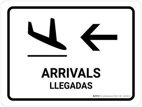 Arrivals With Left Arrow White Bilingual Landscape - Wall Sign