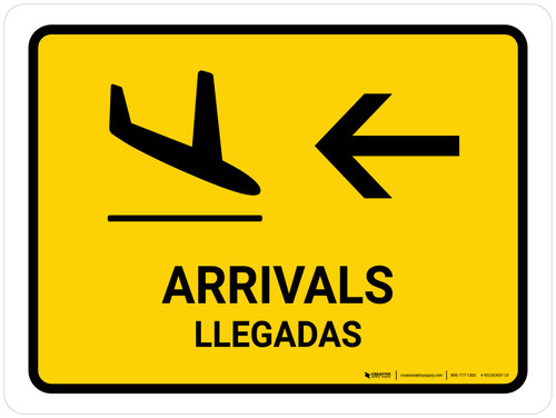 Arrivals With Left Arrow Yellow Bilingual Landscape - Wall Sign