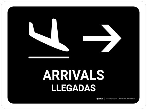 Arrivals With Right Arrow Black Bilingual Landscape - Wall Sign
