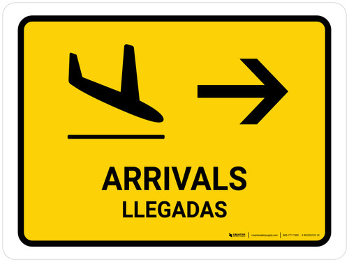 Arrivals With Right Arrow Yellow Bilingual Landscape - Wall Sign
