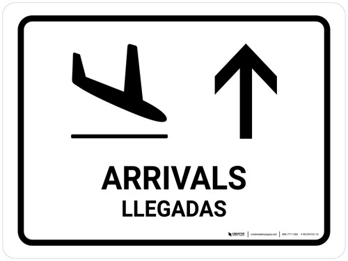 Arrivals With Up Arrow White Bilingual Landscape - Wall Sign