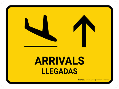 Arrivals With Up Arrow Yellow Bilingual Landscape - Wall Sign