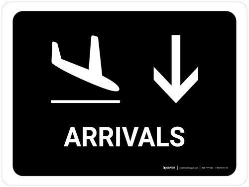 Arrivals With Down Arrow Black Landscape - Wall Sign