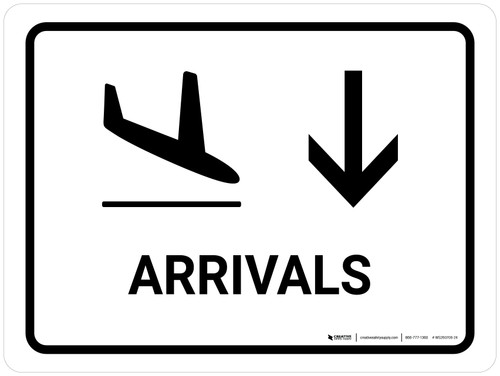 Arrivals With Down Arrow White Landscape - Wall Sign