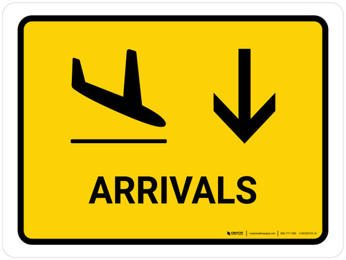 Arrivals With Down Arrow Yellow Landscape - Wall Sign
