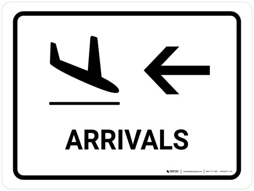 Arrivals With Left Arrow White Landscape - Wall Sign