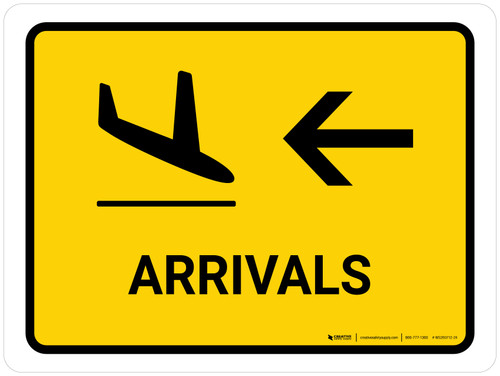 Arrivals With Left Arrow Yellow Landscape - Wall Sign