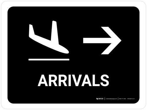 Arrivals With Right Arrow Black Landscape - Wall Sign