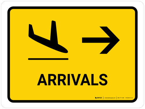 Arrivals With Right Arrow Yellow Landscape - Wall Sign