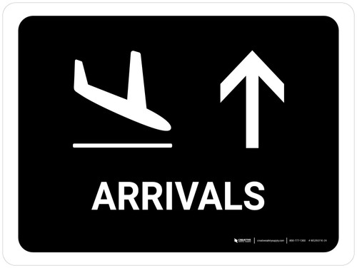 Arrivals With Up Arrow Black Landscape - Wall Sign