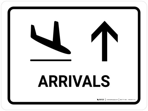 Arrivals With Up Arrow White Landscape - Wall Sign