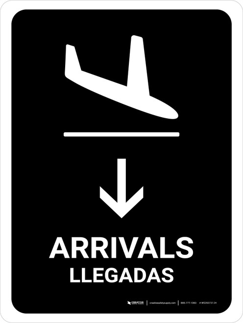 Arrivals With Down Arrow Black Bilingual Portrait - Wall Sign