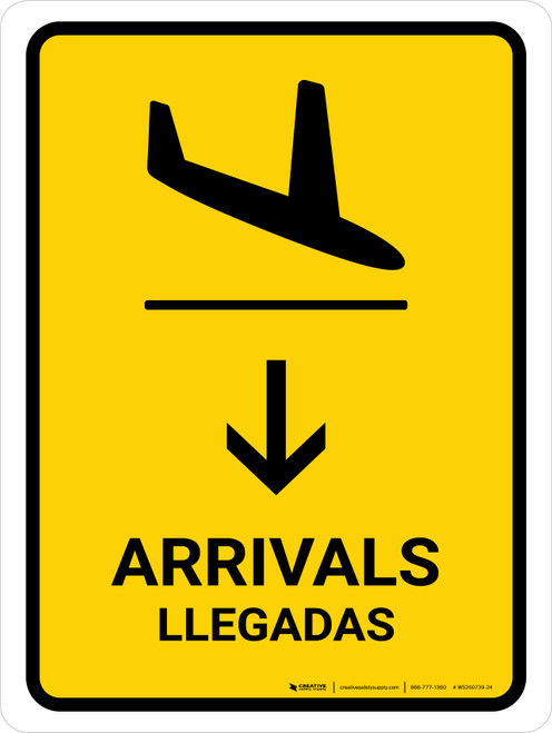 Arrivals With Down Arrow Yellow Bilingual Portrait - Wall Sign