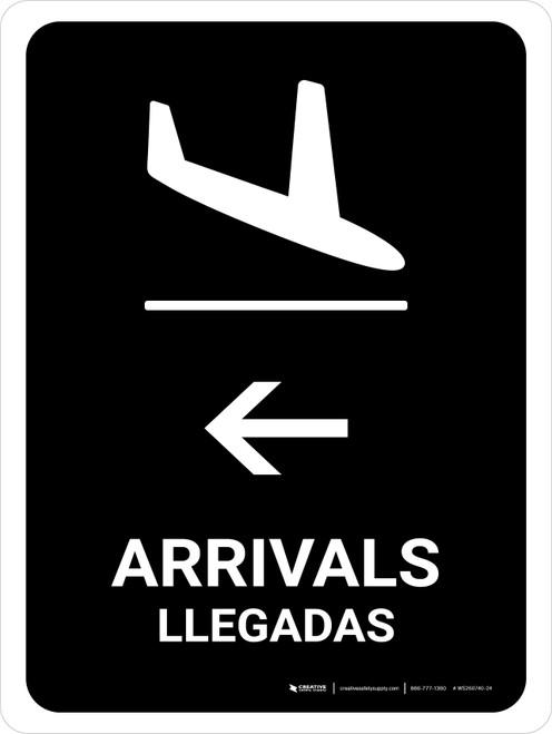 Arrivals With Left Arrow Black Bilingual Portrait - Wall Sign