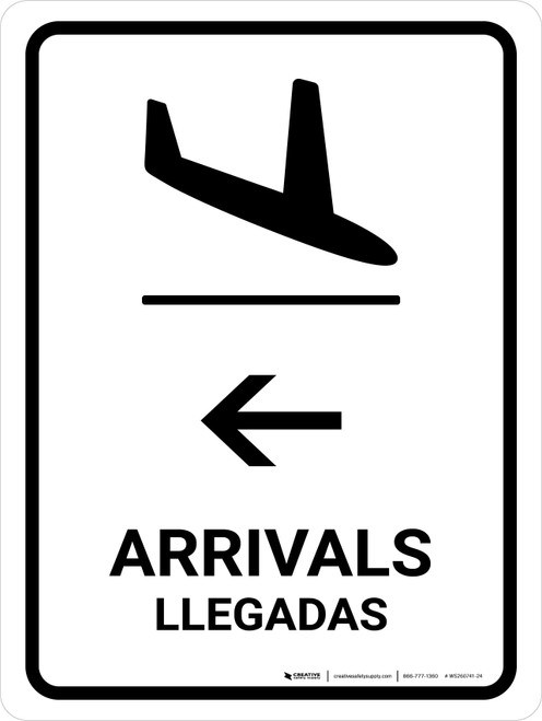 Arrivals With Left Arrow White Bilingual Portrait - Wall Sign