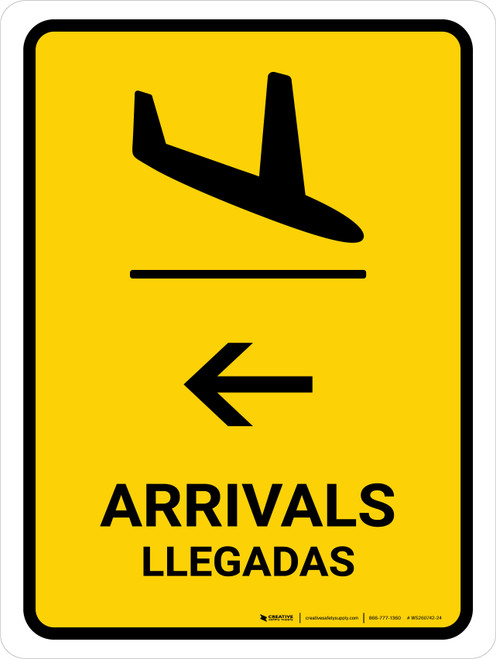 Arrivals With Left Arrow Yellow Bilingual Portrait - Wall Sign