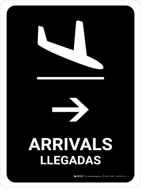 Arrivals With Right Arrow Black Bilingual Portrait - Wall Sign