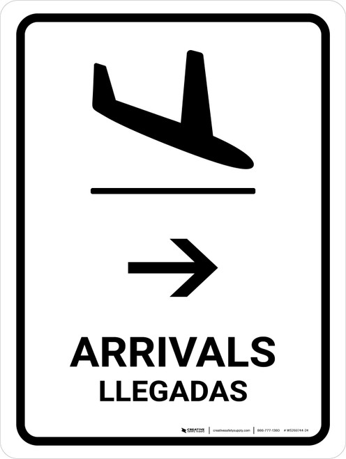 Arrivals With Right Arrow White Bilingual Portrait - Wall Sign