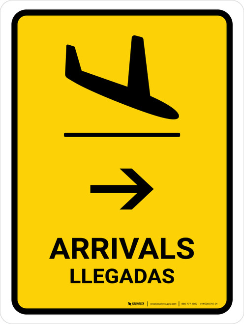 Arrivals With Right Arrow Yellow Bilingual Portrait - Wall Sign