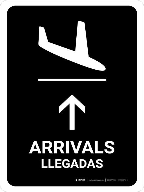 Arrivals With Up Arrow Black Bilingual Portrait - Wall Sign