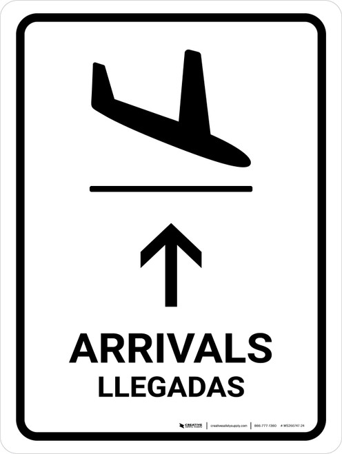 Arrivals With Up Arrow White Bilingual Portrait - Wall Sign