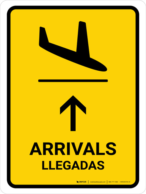 Arrivals With Up Arrow Yellow Bilingual Portrait - Wall Sign