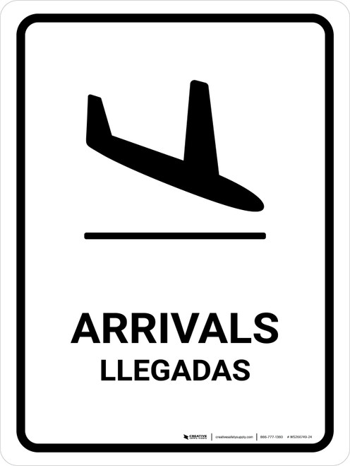 Arrivals White Bilingual Portrait - Wall Sign