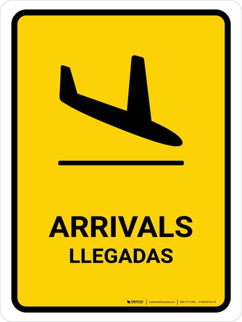 Arrivals Yellow Bilingual Portrait - Wall Sign