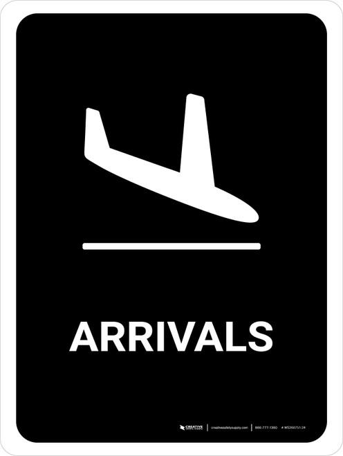 Arrivals Black Portrait - Wall Sign