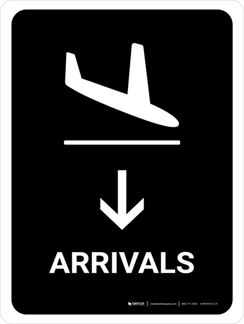 Arrivals With Down Arrow Black Portrait - Wall Sign
