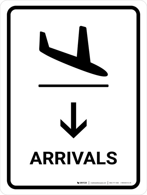 Arrivals With Down Arrow White Portrait - Wall Sign