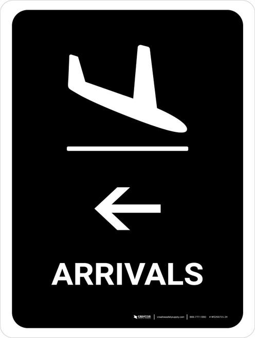 Arrivals With Left Arrow Black Portrait - Wall Sign