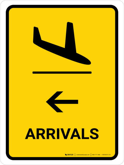 Arrivals With Left Arrow Yellow Portrait - Wall Sign