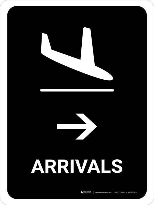 Arrivals With Right Arrow Black Portrait - Wall Sign
