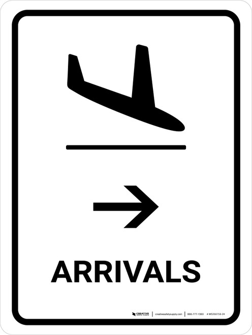 Arrivals With Right Arrow White Portrait - Wall Sign