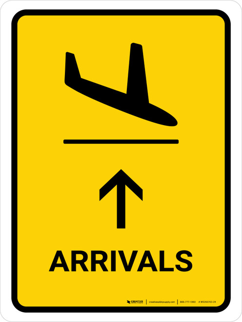 Arrivals With Up Arrow Yellow Portrait - Wall Sign