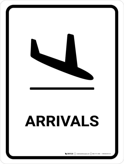 Arrivals White Portrait - Wall Sign