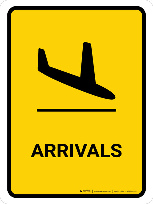 Arrivals Yellow Portrait - Wall Sign
